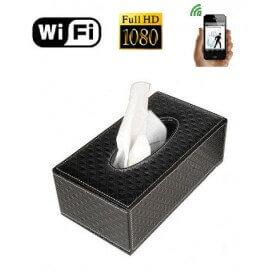 Camara espia WIFI Full HD en caja de pañuelos con deteccion de movimiento