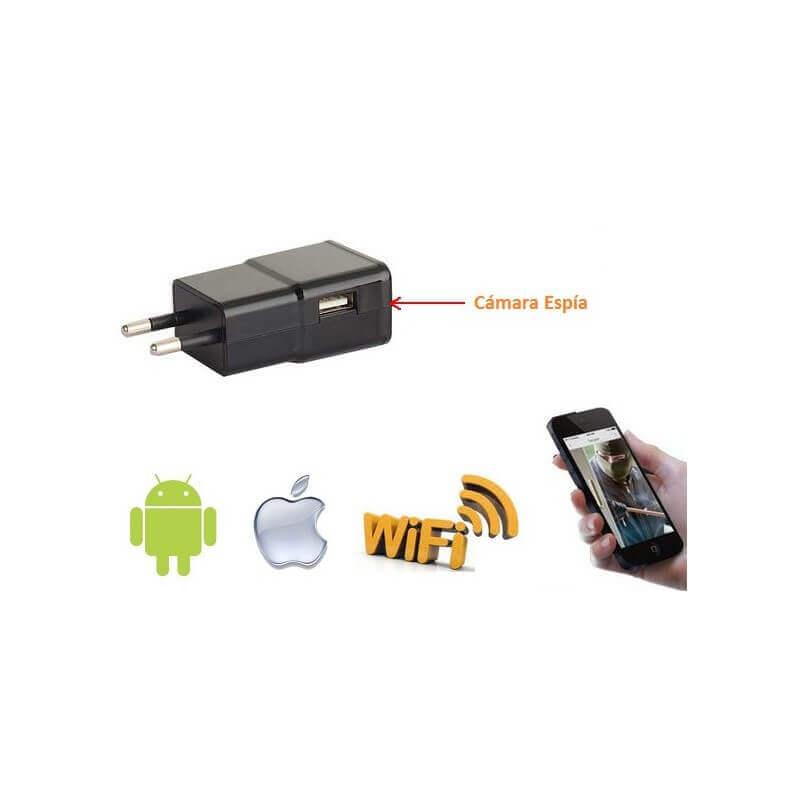 Camara espia wifi  Full HD 1080p en cargador USB compatible con Android / IOS